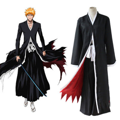 Bleach Kurosaki Ichigo Robe Cloak Coat Pants Cosplay Halloween Costume Set - Ichigo Halloween Costume