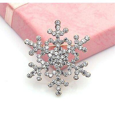 ZARD Christmas Snowflake Pin Brooch Clear Crystal Rhinestone Holiday Jewelry