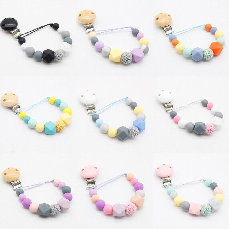 Dummy Clip  Pacifier Chains Beads Teething Soothers Toy Silicone Beads Baby