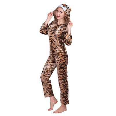 Tiger Pajama Costume (Unisex Adult Animal Tiger Jumpsuit Cartoon Costume Pajama Carnival Party)