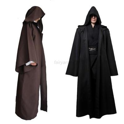 Knight Hooded Cloak Jedi Sith Cosplay Robe Cape Party Costume Clothes Dress Prop - Jedi Costumes Adults