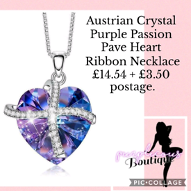 Austrian Crystal Purple Passion Pave Heart Ribbon Necklace