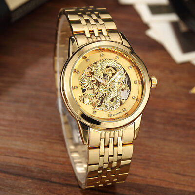 Luxury Rhinestones Dragon Automatic Mechanical Watch Skeleton Self Winding Watch