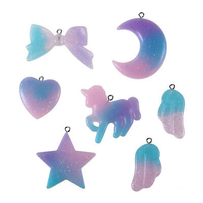 7pcs Cute Resin Unicorn&Moon&Bowknot Charm Pendant Fit DIY Bracelet/Necklace - Unicorn Charm