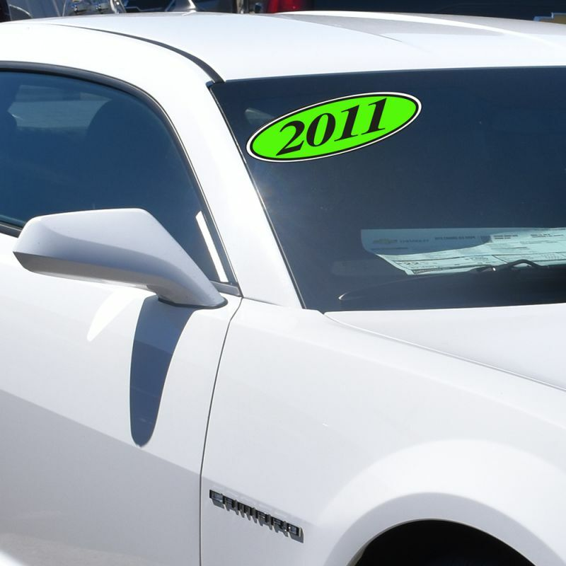 Car Dealer Windshield Oval Model Year Stickers, 4 Digit, Black and Chartreuse