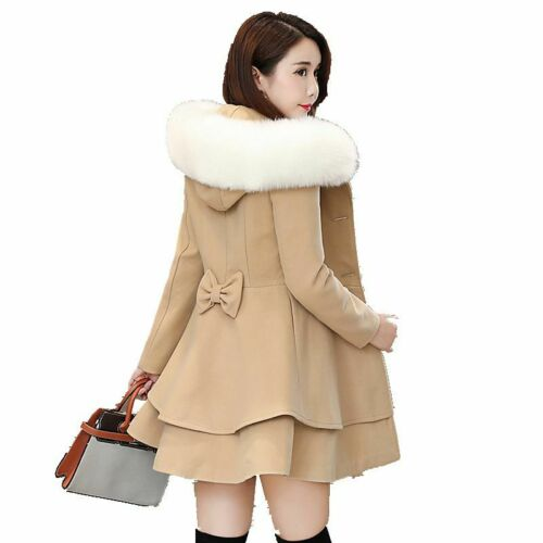 Women Winter Wool Double Breasted Peacoat Fur Hooded Trench Coat Sweet Jacket NW