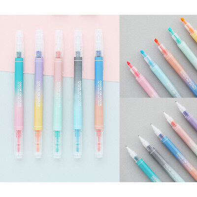 Color on Color Twin Plus 10COLOR Pen 2 Way Pens Thick Dual Nibs Highlighter