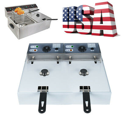US 5000W Electric Countertop Deep Fryer Dual Tank Stainless Steel Commercial 12L