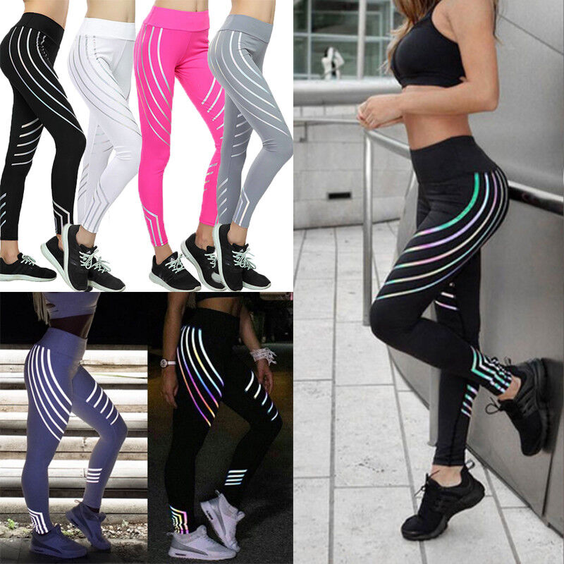Damen Jogginghose leuchtend Nacht Yogahose Leggins Fashion Fitness