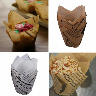 50X Cupcake Wrapper Paper Cake Liner Muffin Baking Cups Weeding Party Dessert (Cupcake Papers)