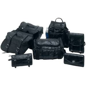 7pc Leather Motorcycle SaddleBag Sissy Bar Barrel Tool Bag Luggage fits Harley