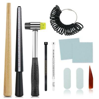 11Pcs Ring Mandrel Sizer Stick Finger Guage Hammer Jewelry Measuring Equipment
