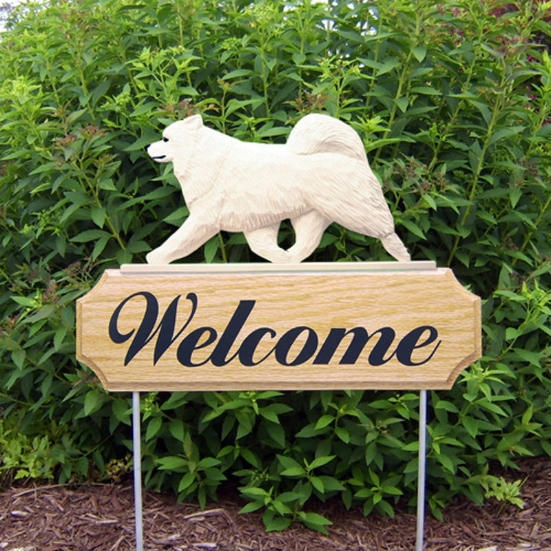 Samoyed Wood Welcome Outdoor Sign