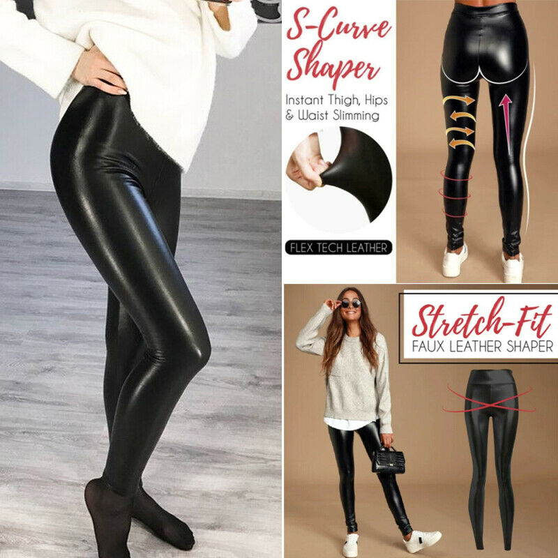 Stretch-Fit Black Faux Leather Shaper High Waist Leggings Sl