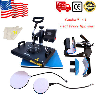 Combo 5 In 1 Heat Press Machine 12x15in For Sublimation Mugs Plate Hats Cup Us