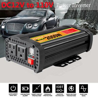 Solar Power Inverter 4000W Peak 12V DC To 110V AC Modified Sine Wave Converter C