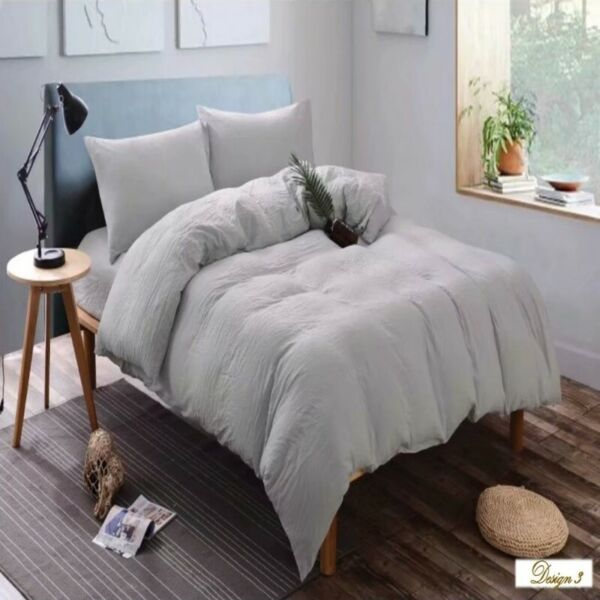 KING BED LIGHT GREY Fitted BedSheet + 2 Pillowcases Set NEW!
