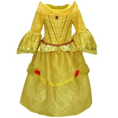 Princess Belle Deluxe Girls Halloween Costume Dress 3-10 Years](Princess Belle Halloween)