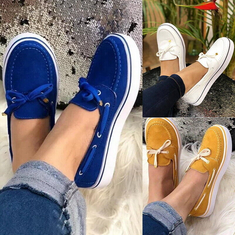 Womens Flat Sneakers Casual Trainers Lace Up Flats Slip-on Loafers Shoes Size 1
