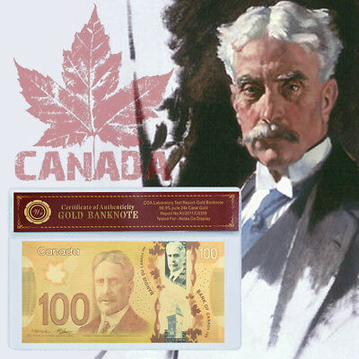 WR Canada 100 Dollars 2011 Polymer Banknote Gold Foil Bill Note Nice Detail Gift