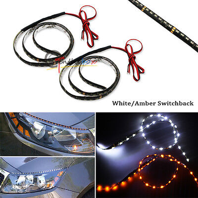 2pcs 60CM Slim White Amber Sequential Flexible LED DRL Turn Signal Strip Lamp