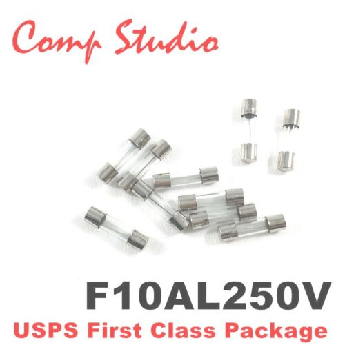 10Pcs 10A 250V Fast Blow Fuse Glass Tube Fuse 5mmX20mm F10AL250V - US Seller