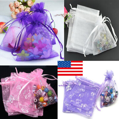 100pcs Organza Gift Bags Jewelry Candy Bag Wedding Favors Mesh Gift Pouches -