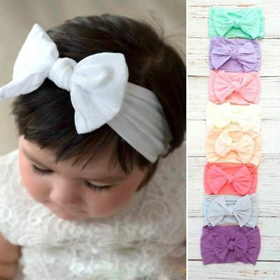 Baby Girls Wide Nylon Bow Headband Knot Head Wraps One Size Fits Most 18 Colors