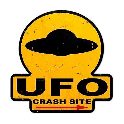 Ufo Crash Site Area 51 Restricted Access Alien Humor Tin Metal Steel Sign 16X16