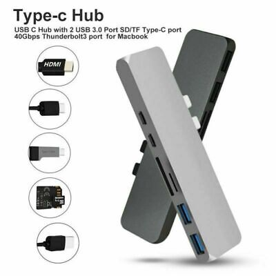 For MacBook Pro 7 in 1 USB C Hub USB 3.1 Type C Adapter Dock Card Reader 4K HDMI