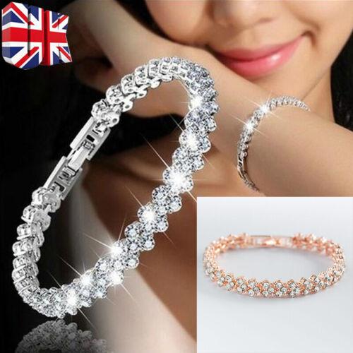Jewellery - Ladies Silver Crystal Rhinestone Bangle Bracelet Wedding Bridal Jewelry Diamond.