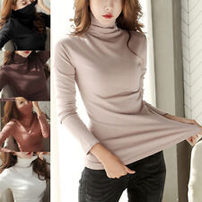 Women Long Sleeve T-Shirt Turtle Neck Pullover Tops Sweater Slim Solid Casual