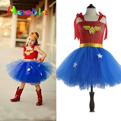 Superhero Girls Wonder Woman Tutu Dress Kids Cosplay Costume Party Batman Play](Womens Superhero Tutu Costumes)