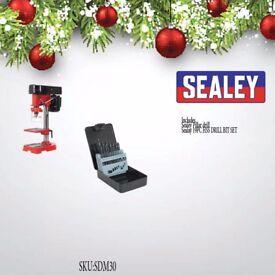 SEALEY SDM30 PILLAR DRILL 5 SPEED 580MM 350W/230V + 19PC HSS DRILL BIT SET