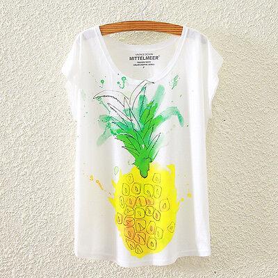 New Fashion Summer Women Short Sleeve Pineapple Print T Shirt Blouse Tops Tee