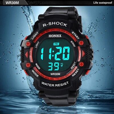 Led-digital-wasser (Herren Elektroluminiszenz Uhr Großbild LED Digital Wasserdicht Sport Armbanduhr)