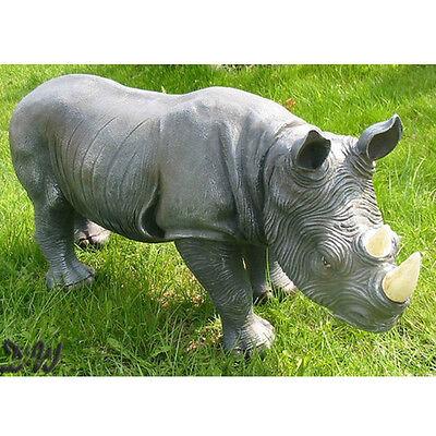 NASHORN 70 cm Garten Deko Tier Figur Afrika Zoo WILDTIERE RHINO Rhinozeros