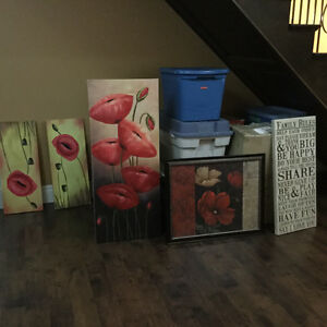 5 large paintings and canvases
