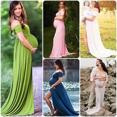 Schwangere Kleid Umstandsmode Schlitz Umstandskleid Fotoshooting Kleider Kostüme