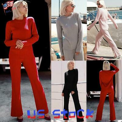 Women Sweater Set Ribbed Long Sleeve Knitted Pullover Pants Trouser Loose -