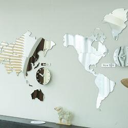 World Map Time Acrylic Mirror Wall Clock Non Ticking Decor Map Silent Movement