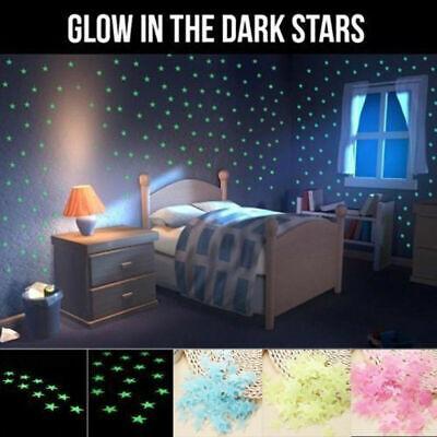 100pcs Luminous Wall Stickers 3D Stars Glow In The Dark Kids Bedroom Decoration