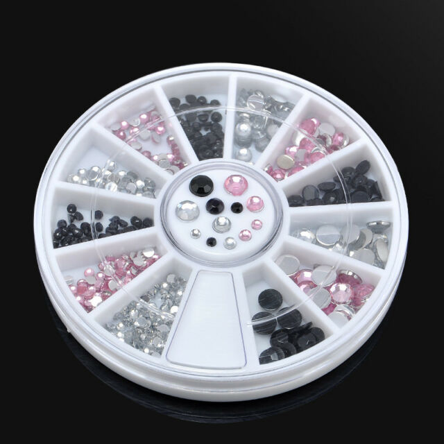 3 Colors 3D Crystal Glitter Rhinestone Nail Art Tips Gems DIY Decoration + Wheel