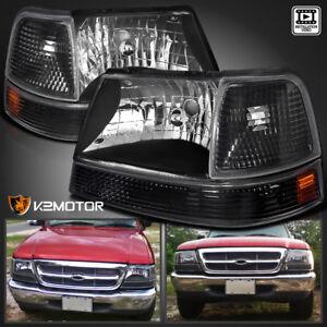 1998-2000 Ford Ranger Black Crystal Headlights+Parking Corner Lamps Left+Right