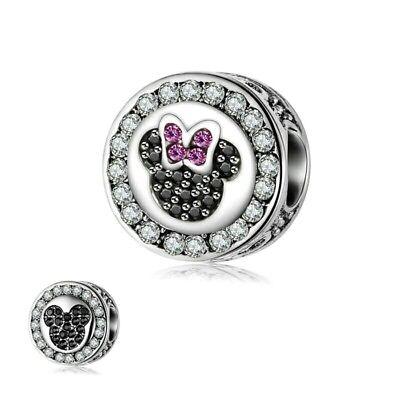 Disney Mickey Round Charm - Disney Mickey Minnie sparkly gem round charm for European Charm Bracelet/Pandor