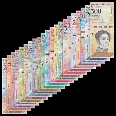 Venezuela Full Set 21 PCS, 2 - 100, 000 Bolivares, 2-500 Soberanos 2007-2019, UNC