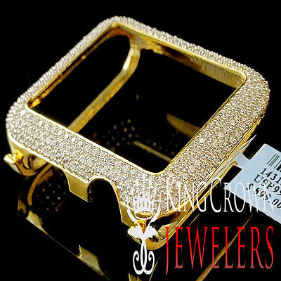 10K REAL YELLOW GOLD ON PURE SILVER APPLE WATCH BEZEL 42MM SERIES 1 DIAMOND CASE