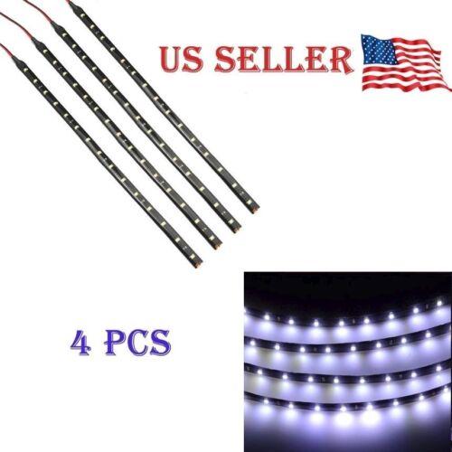 "White 4PCS 12V 12"" 15SMD Flexible LED Strip Light Waterproof"