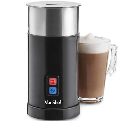 Electric Stainless Steel Milk Frother Black And Silver Heater Foamer Dual Warmer