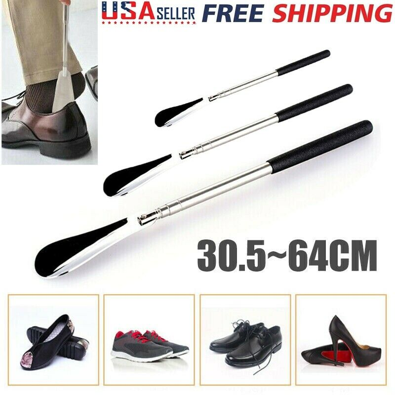 Adjustable Metal Shoe Horn Stainless Steel 30.5cm - 64cm Long Handled Shoehorn